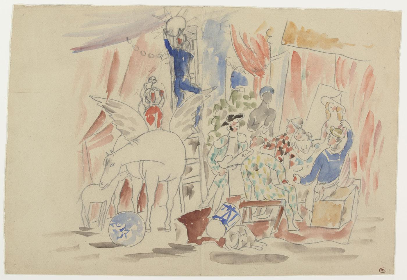 Pablo Picasso, Project pour le rideau de scène du ballet Parade, [1916-1917] Graphite pencil and watercolor on paper | Musée national Picasso-Paris Donation Pablo Picasso, 1979, MP1557 © Succession Picasso 2018