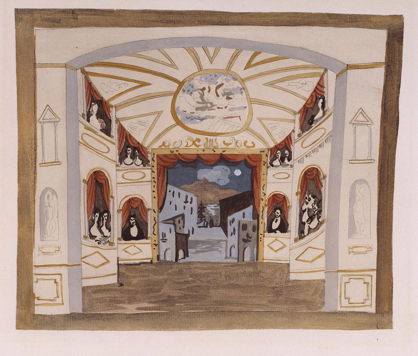 Pablo Picasso (after) Étude de décor pour le ballet Pulcinella [ca. 1920] Jacomet process | BnF / Bibliothèque-musée de l'Opéra © Succession Picasso 2018