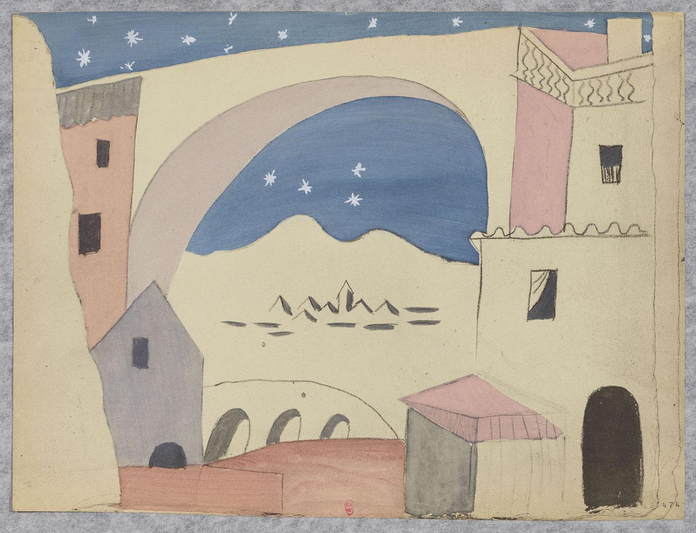 Pablo Picasso (after), Le Tricorne: final set model (1919) plate from the portfolio: Trente-deux reproductions de maquettes en couleurs d'après les originaux des costumes et décors par Picasso pour le ballet Le Tricorne Paris, P. Rosenberg, 1920 | BnF, Estampes et photographie © Succession Picasso 2018