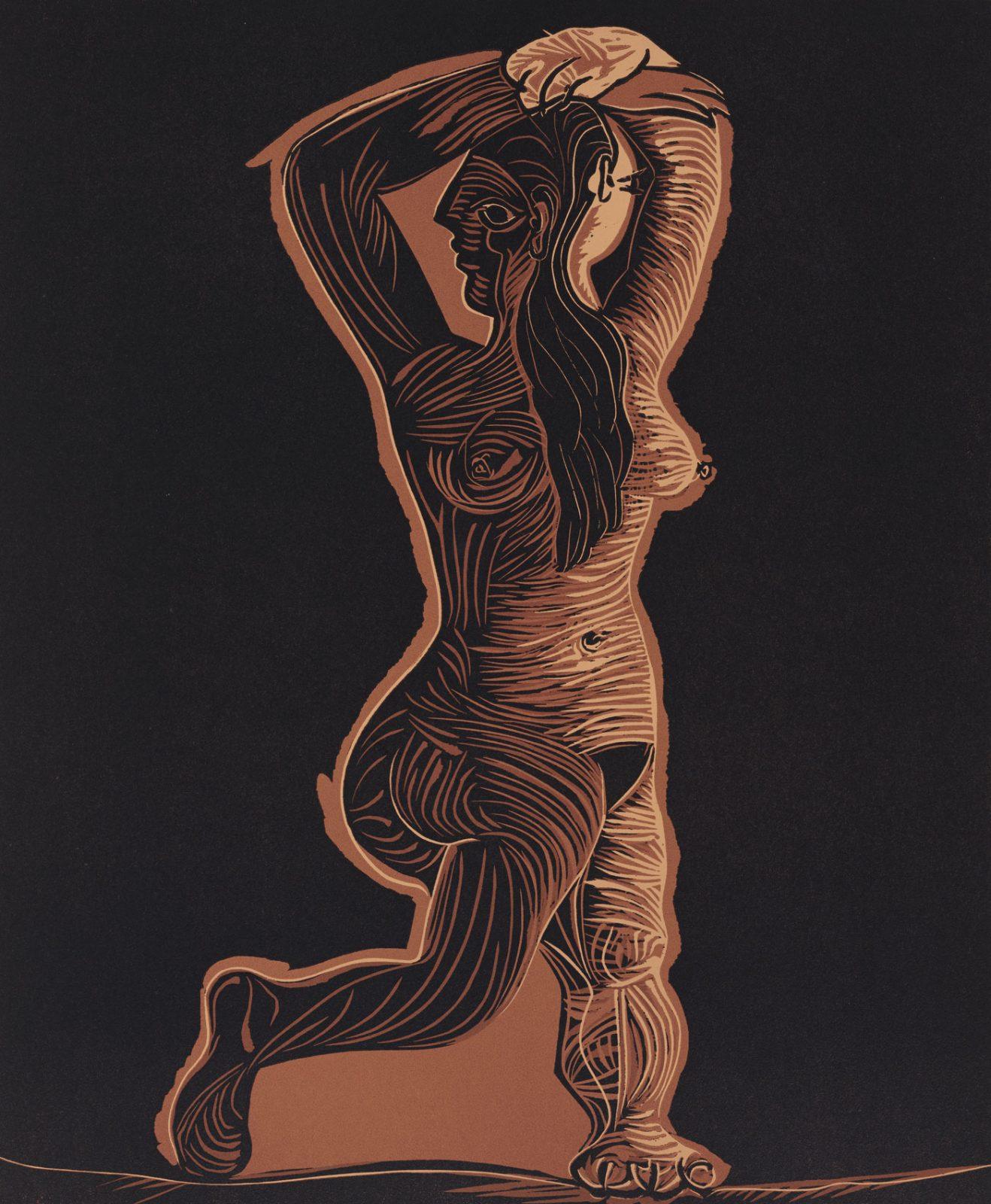 Pablo Picasso, Grand nu dansant, 1962 color linocut | BnF, Estampes et photographie © Succession Picasso 2018
