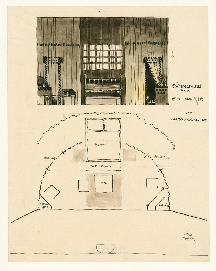 "Er und Sie (Comedy by Georges Courteline) Stage design for the Jung-Wiener Theater ""Zum lieben Augustin"" by Felix Salten, around 1901 not realized Theatermuseum © KHM-Museumsverband"